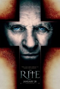 The Rite is based on Matt Baglio's nonfiction book The Rite: The Making of a Modern Exorcist, directed by Mikael Hafstrom and starring Anthony Hopkins, Colin O'Donoghue, Alice Braga, Ciaran Hinds, and Toby Jones