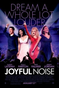 Joyful Noise began filming began in mid February 2011 in locations throughout Georgia, such as Atlanta, Decatur, Newnan, Dallas, Conyers, and Peachtree City. The movie finished filming in early April 2011.