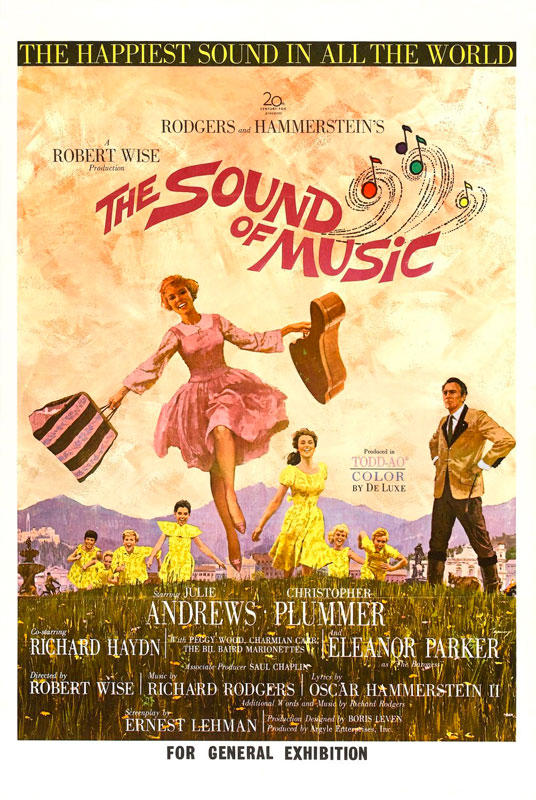 The Sound of Music,directed by Robert Wise and Starring Julie Andrews, Christopher Plummer, Nicholas Hammond. A woman leaves an Austrian convent to become a governess to the children of a Naval officer widower.