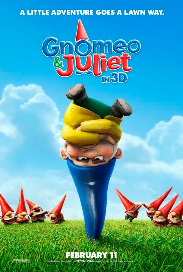 In Gnomeo and Juliet, garden gnomes Gnomeo and Juliet have as many obstacles to overcome as their quasi namesakes when they are caught up in a feud between neighbors