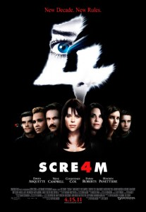 In SCRE4M, ten years have passed, and Sidney Prescott, who has put herself back together thanks in part to her writing, is visited by the Ghostface Killer.